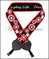 Red and White Flowers on Black with Red Lining
