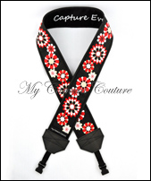 Red and White Flowers on Black with Black Lining