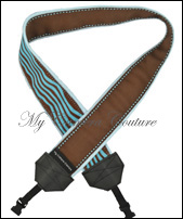 Brown with Blue Pinstripe Reversible to Blue and Brown Waves