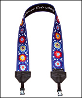Lacy Flowers on Blue-SLR camera, DSLR camera, camera accessory, camera strap, camcorder strap, fashion camera strap, funky camera strap, classic camera strap, colourful camera strap, colorful camera strap