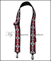 Red Scrolls on Black Large Bag Strap